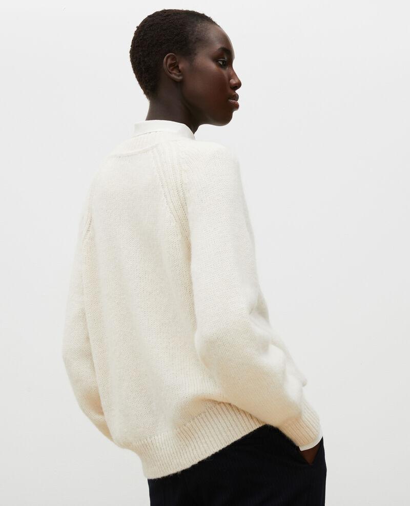 Oversize V-neck wool cardigan Jet stream Montfuji
