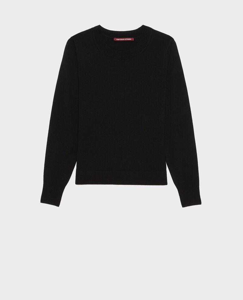 Round neck merino wool jumper Black beauty Passy