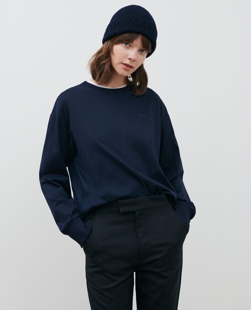 Round neck long-sleeve cotton t-shirt Night sky Mainzac
