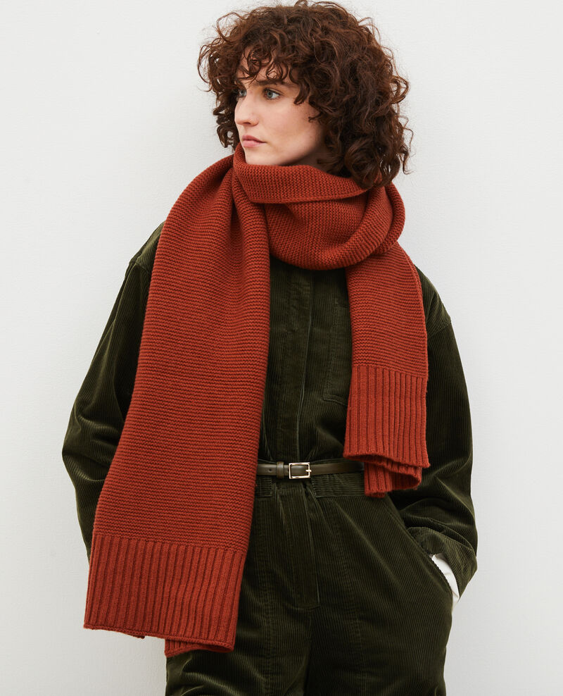 Long wool scarf Brandy brown Moiron