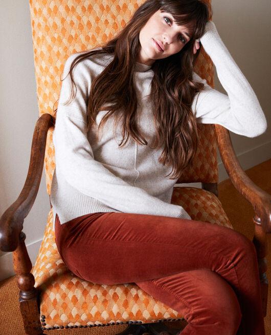 Smooth velvet trousers BRANDY BROWN