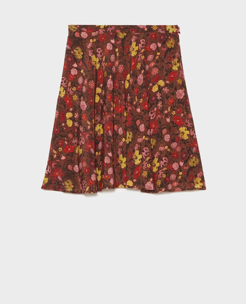 Floral silk flared mini skirt Print eden tortoiseshell Maurau