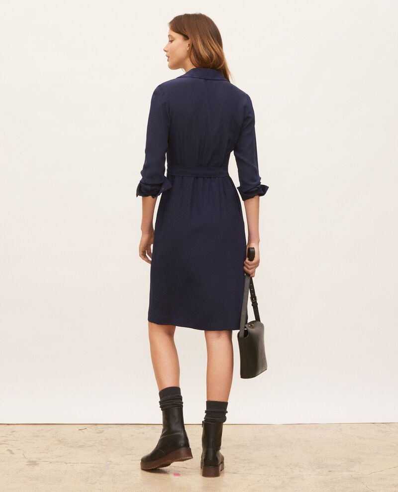 Round neck silk shirt dress with belt Maritime blue Lolita