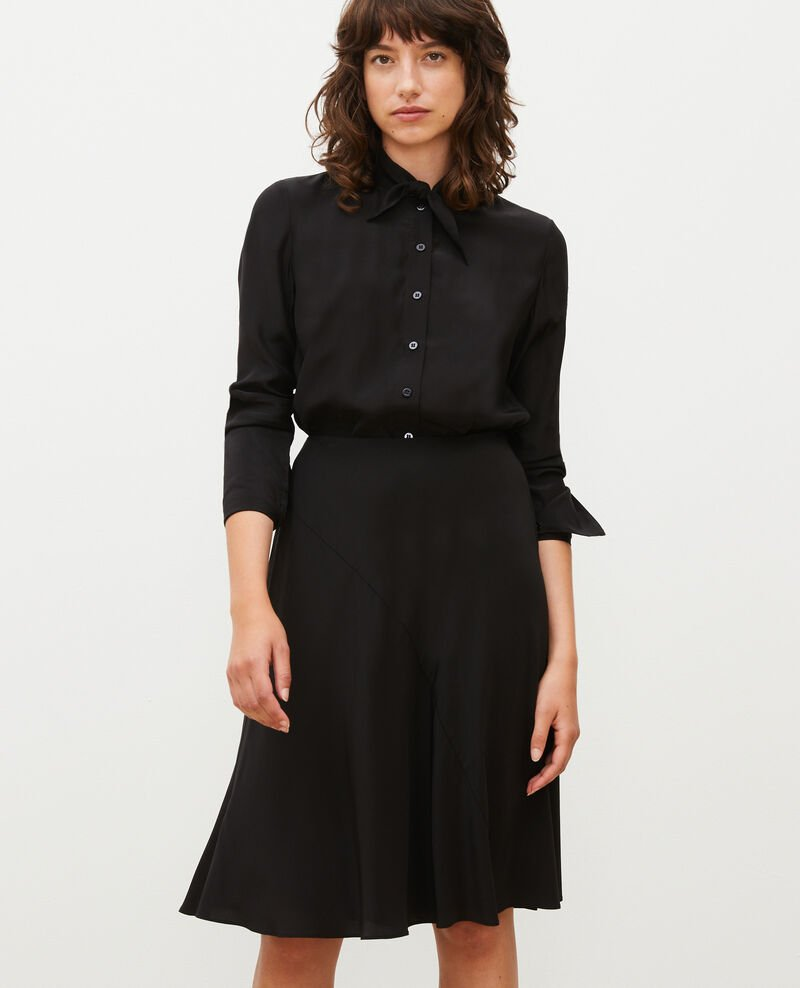 Flared silk bias-cut skirt Black beauty Lido