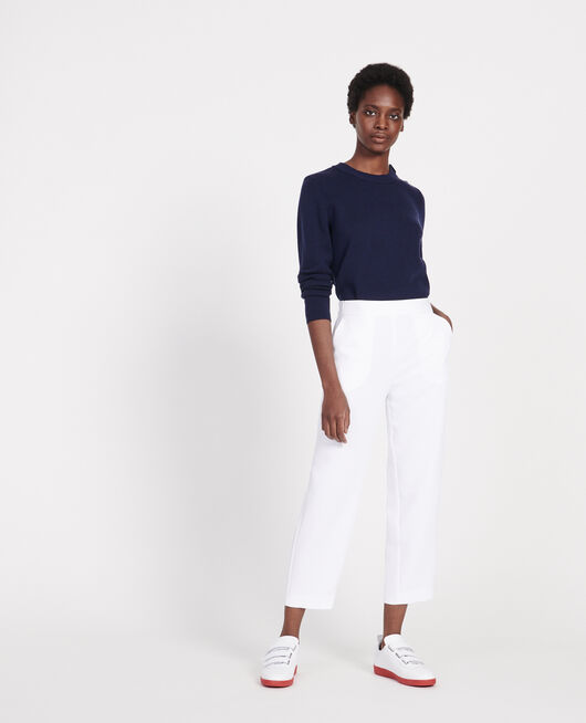 Loose elasticated polyester trousers OPTICAL WHITE
