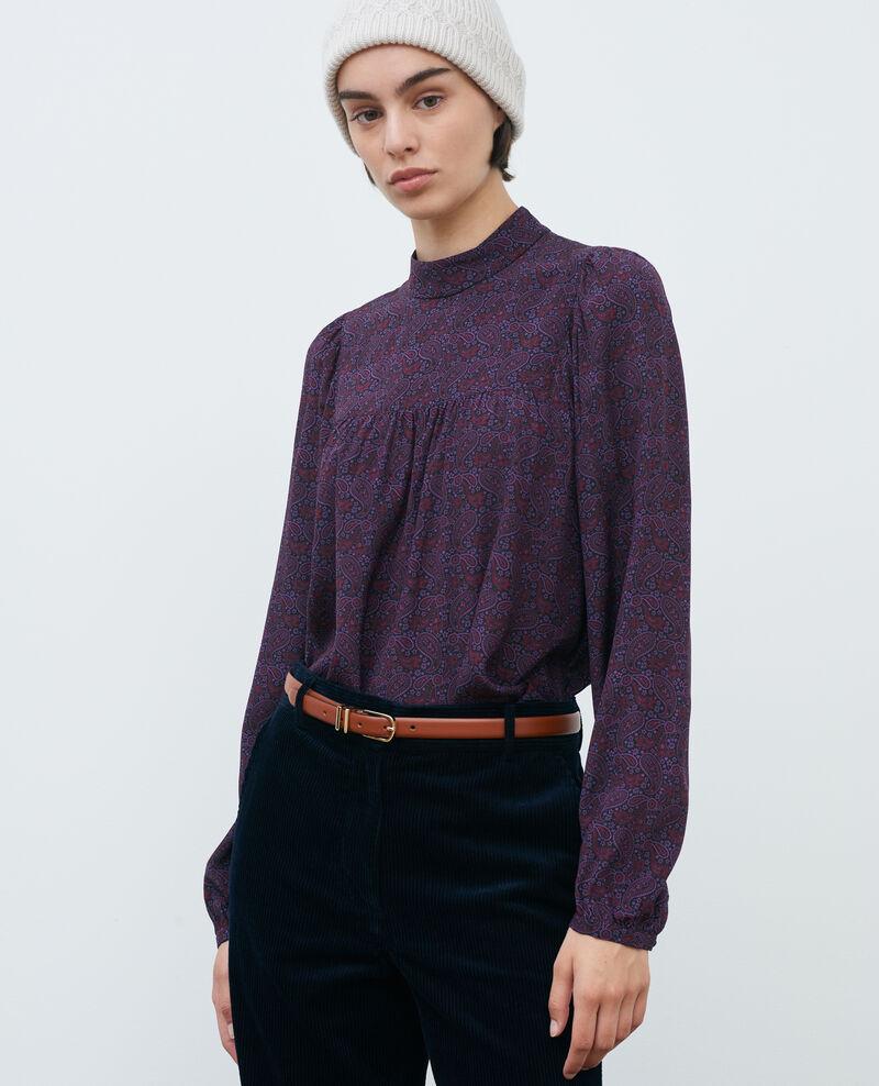 Silk ruffle top Paisley purple Palante