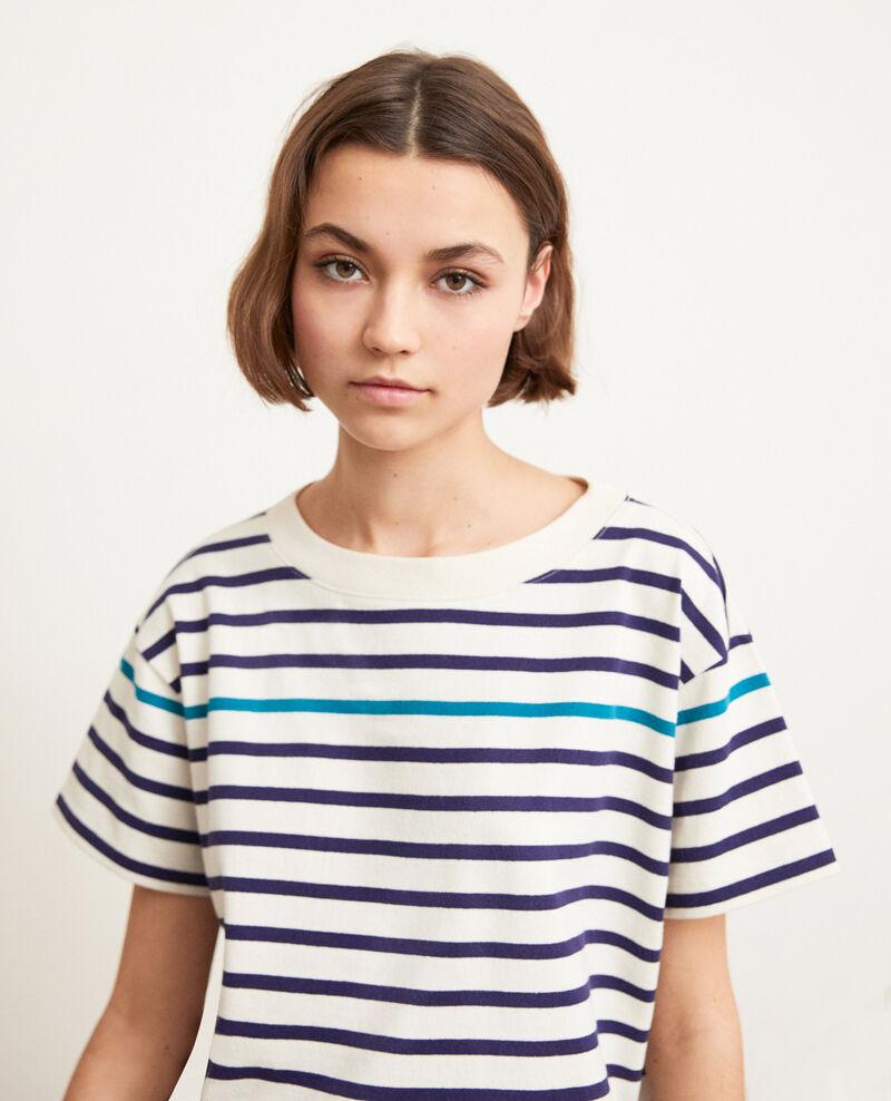 Striped T-shirt Ow/navy/turquo Ipanka