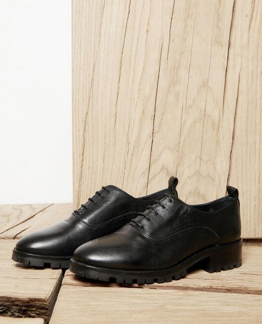 Black leather derbies NOIR