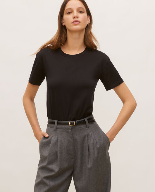 Round neck cotton t-shirt BLACK BEAUTY