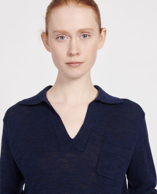 Linen blend jumper MARITIME BLUE