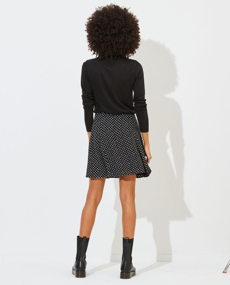 Printed mini skater skirt Birdy black Pitite