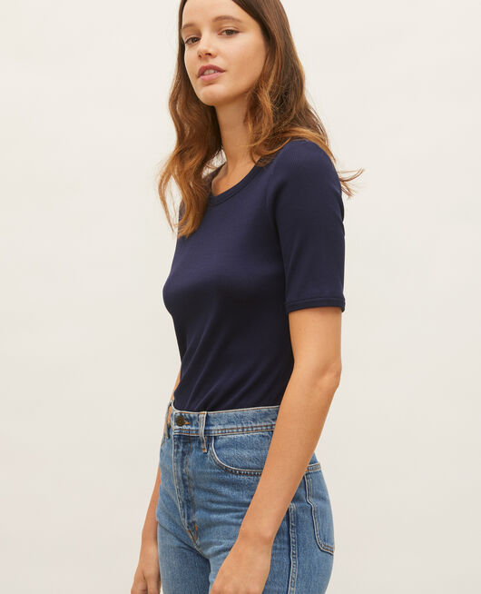 Mercerised cotton ribbed t-shirt MARITIME BLUE