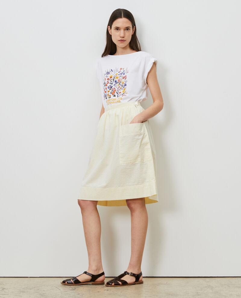 Cotton seersucker midi skirt Str lemon white Nebaral
