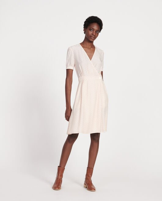Silk wrap dress MEMPHIS BUTTERCREAM
