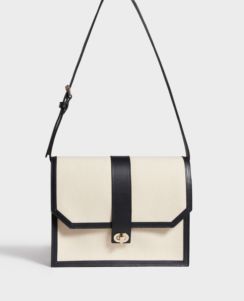 Canvas and leather flap bag Gardenia maritime blue Lettre