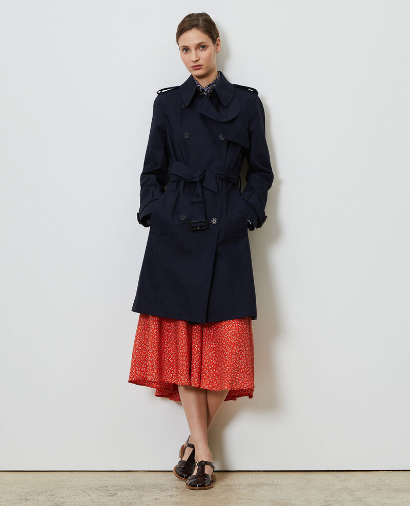 CATHERINE - Mid-length cotton belted trench Night sky Mambert