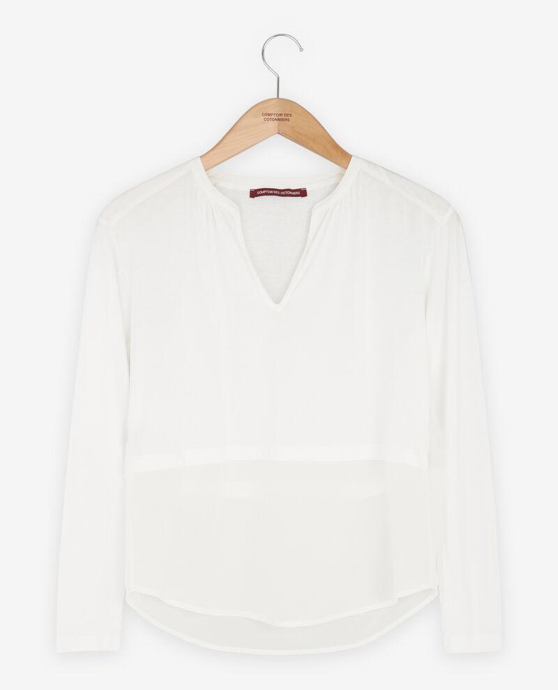 Bimaterial T-shirt with silk White Fabio