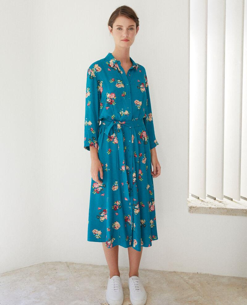 Mid-length dress Fleurs pacific green Fidji