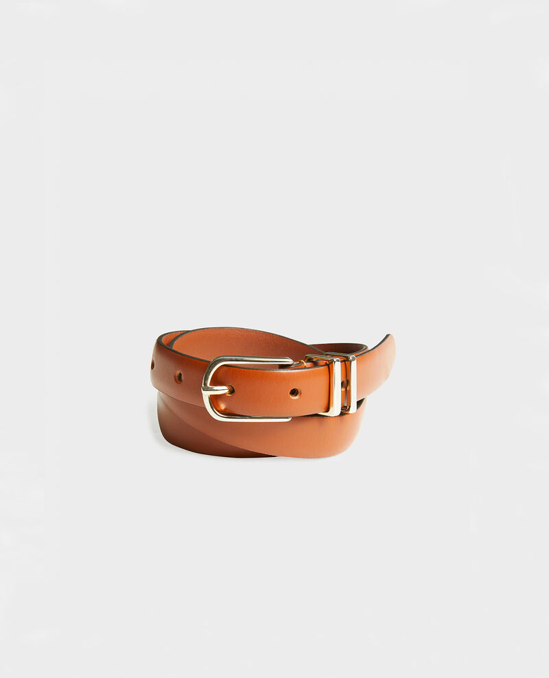 Leather belt Brandy brown Mendite