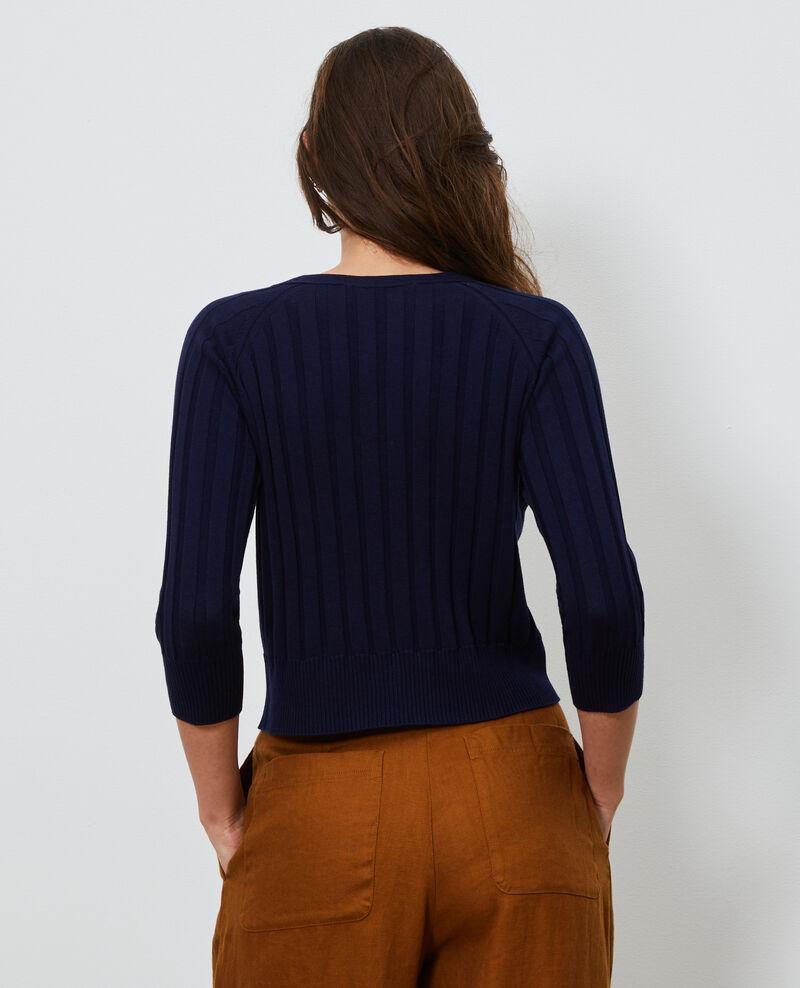 3D rib knit cardigan Maritime blue Luchy