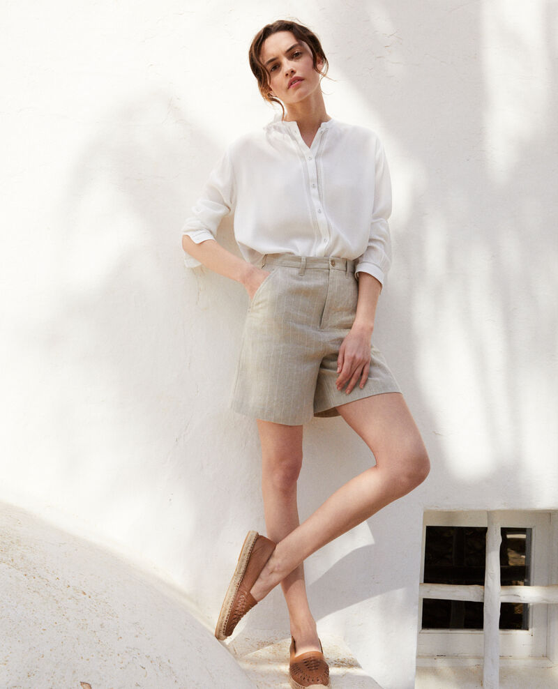 Linen shorts Natural linen/off white Icloude