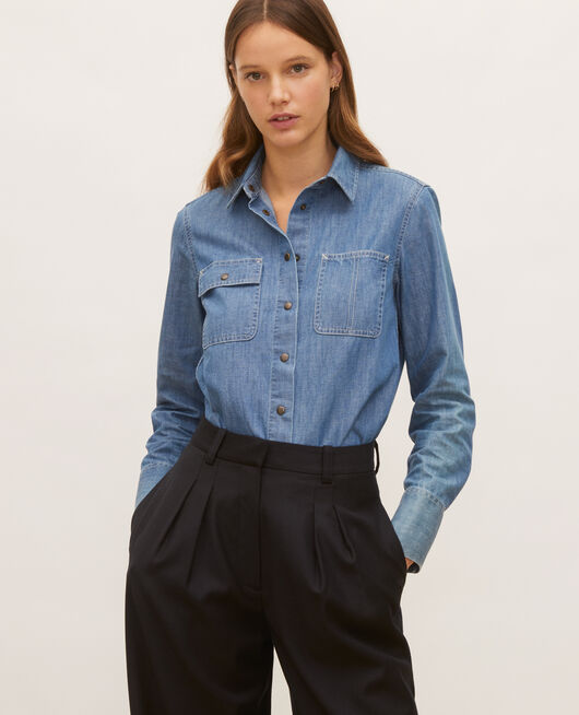 Denim shirt with asymmetric pockets DENIM BLUE
