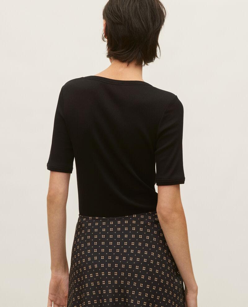 Mercerised cotton ribbed t-shirt Black beauty Lasso