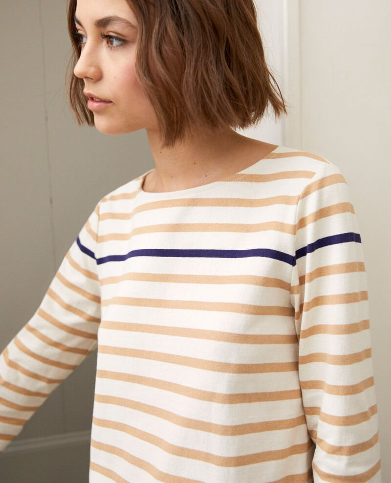Striped T-shirt Ow/camel/navy Isteria