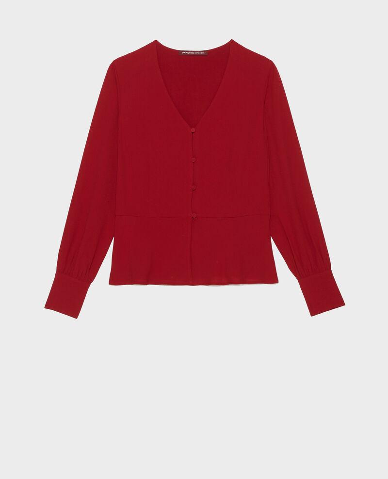 Slim fit V neck blouse  Royale red Marguerin