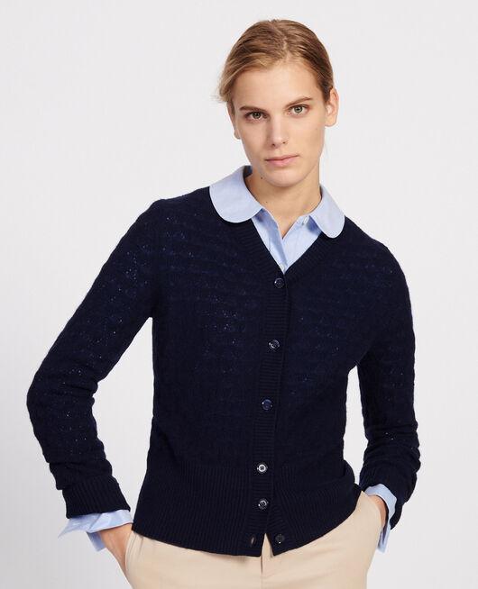 V-neck cardigan, 100% cashmere  MARITIME BLUE