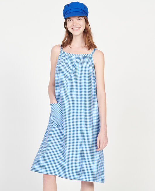 Cotton dress VICHY PRINCESS BLUE GARDENIA