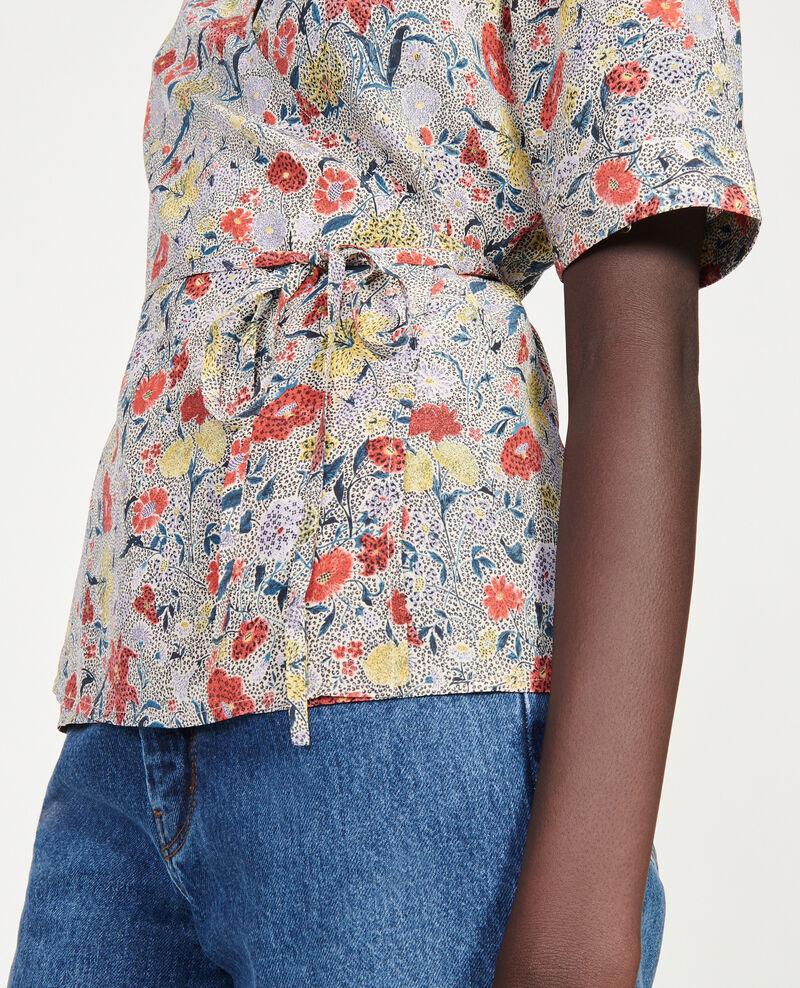 Floral silk wrap blouse Print eden cream Mirebeau