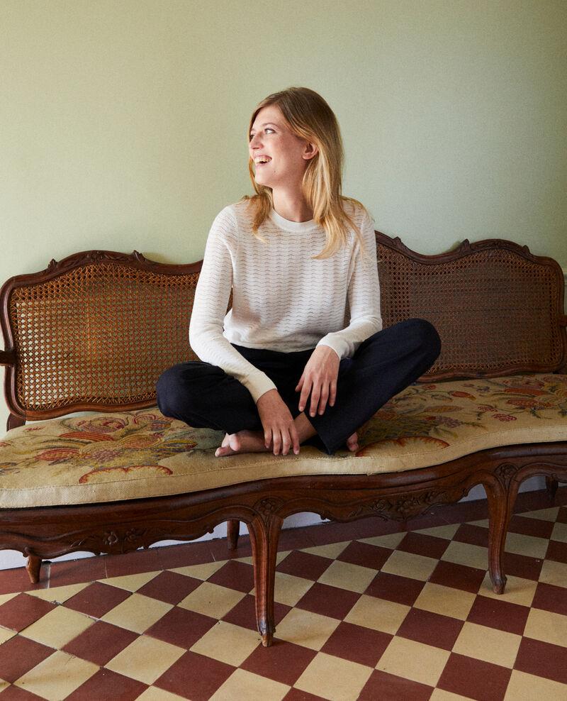 Novelty knit jumper 100% Merino Wool Off white Jikael