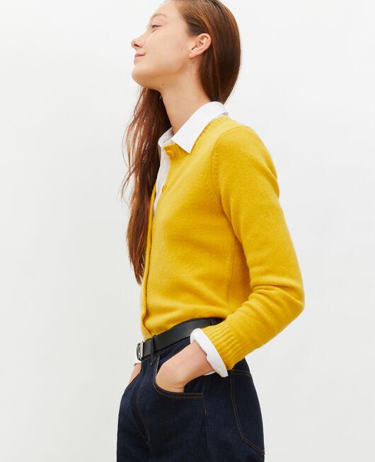 Round neck cashmere cardigan LEMON CURRY
