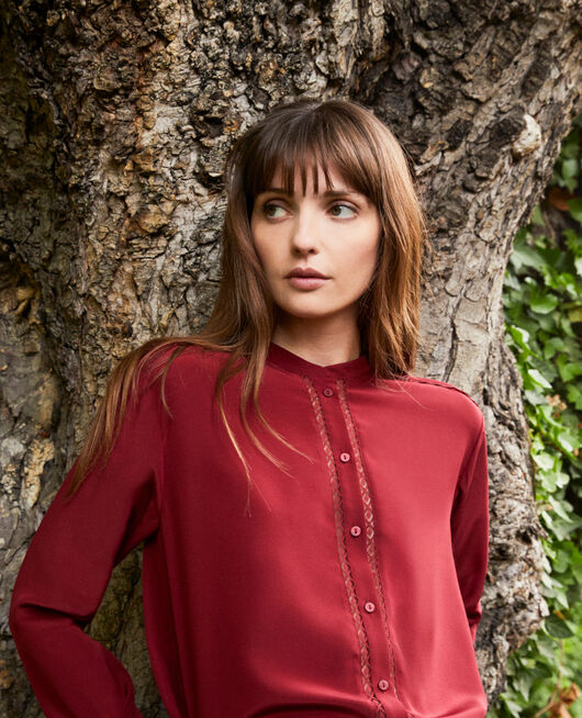 Blouse made of silk with lace detail CABERNET