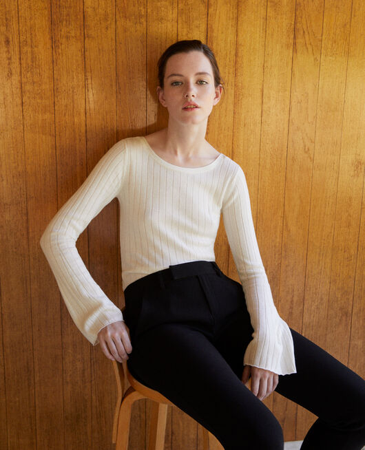 Ribbed wool jumper White