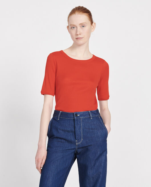 Mercerised cotton ribbed t-shirt FIERY RED