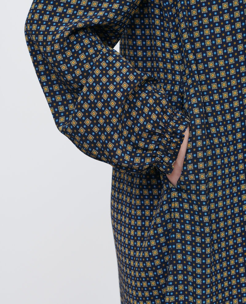 Mini dress with smocking Cravate green Poisson