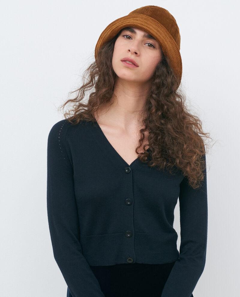 Short silk and cotton cardigan Black beauty Nouma