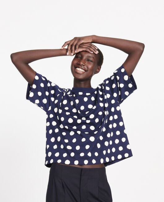 Boxy cotton t-shirt DOTS MARITIME BLUE