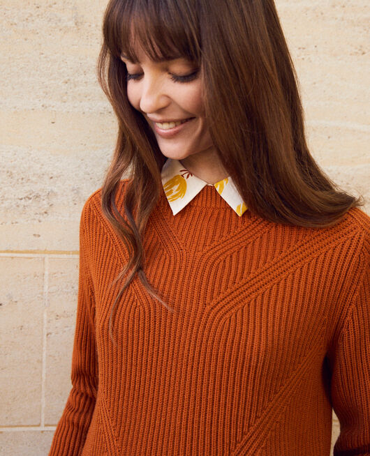 Jumper with inserts on the hem 100% Merino Wool UMBER