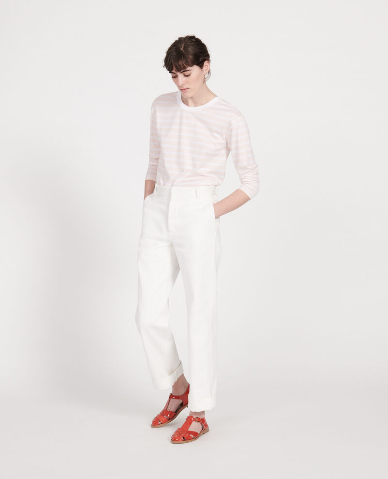 Cotton t-shirt Stripes primrose pink optical white Lana