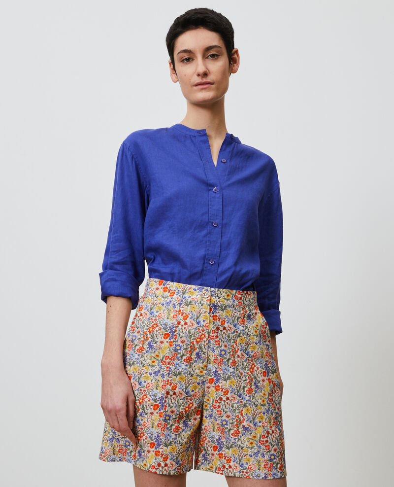 Collarless linen shirt Royal blue Nawak