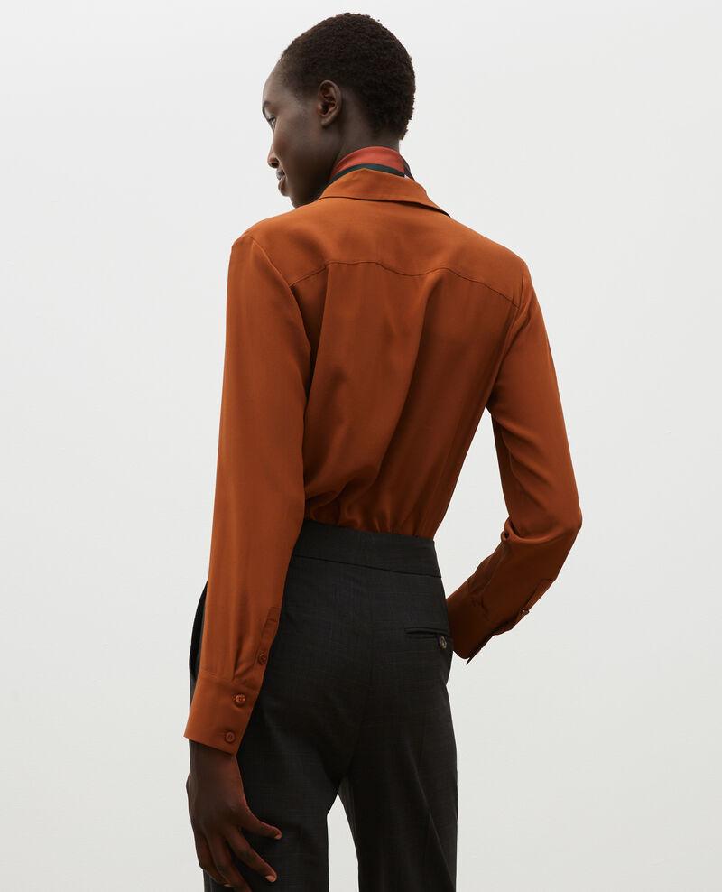 Loose long-sleeve silk shirt Tortoise shell Misabetha
