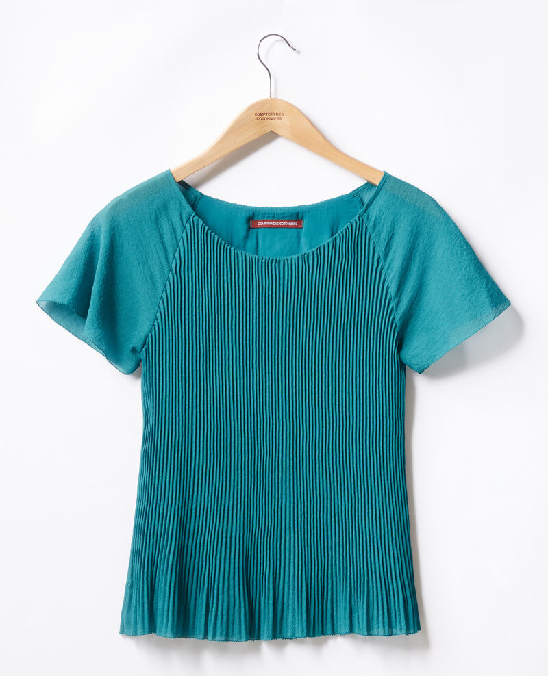 Pleated blouse Pacific green Farouche