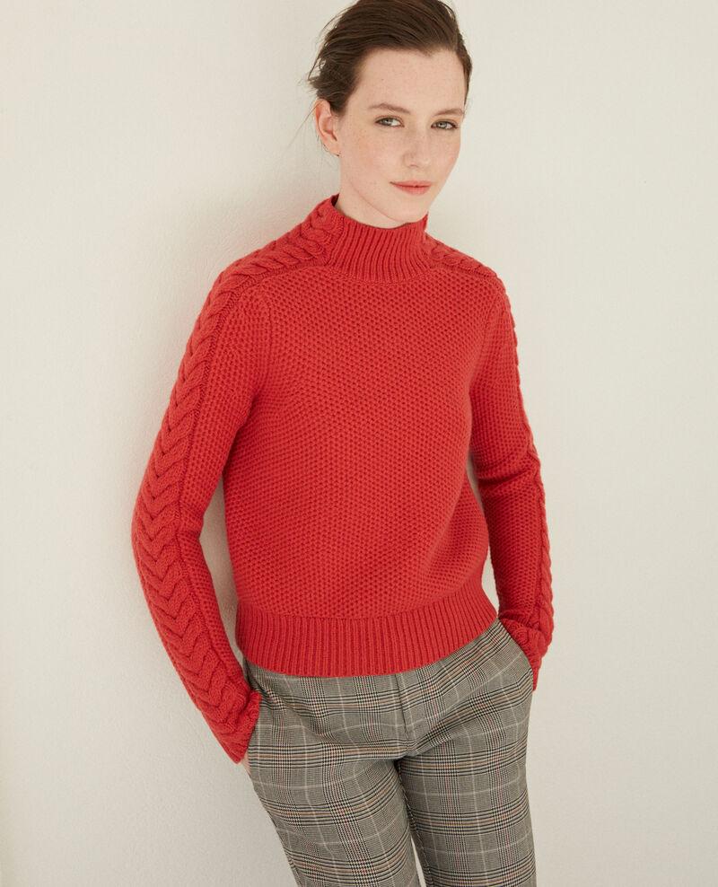 Wool jumper with braid detail Red Garouk