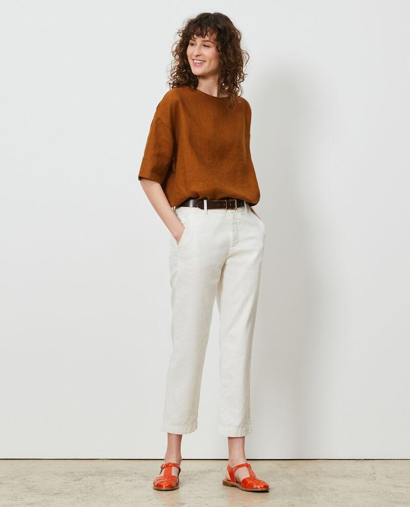 Linen and cotton 7/8 trousers MARGUERITE Gardenia Laiguillon