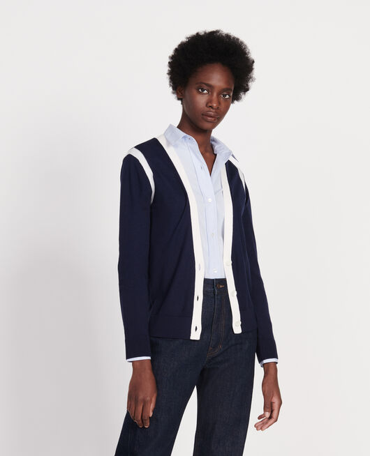 Silk and cashmere  blend cardigan STRIPES MARITIME BLUE GARDENIA