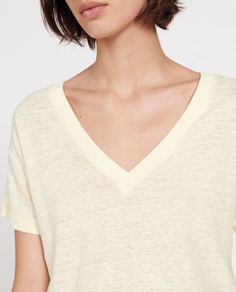 Linen t-shirt Tender yellow Locmelar