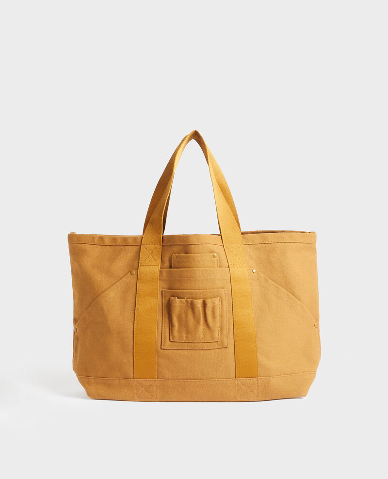 Multi-pocket cotton tote bag Bronze brown Naive